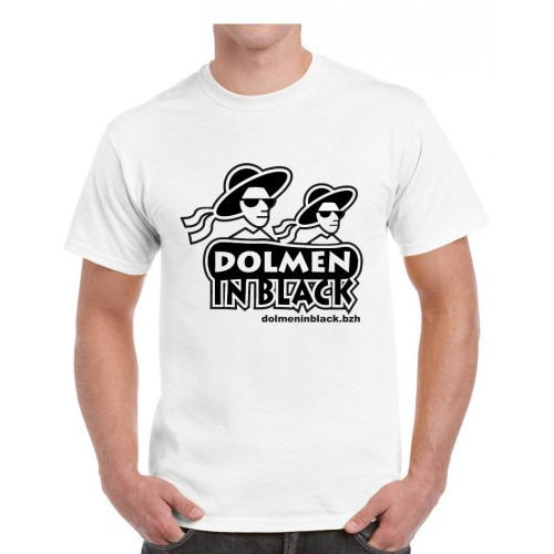 Tee-shirt logo Dolmen in Black blanc