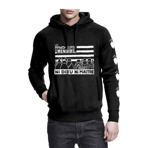 Sweat-shirt non zippé à capuche ni Dieu ni Maître noir
