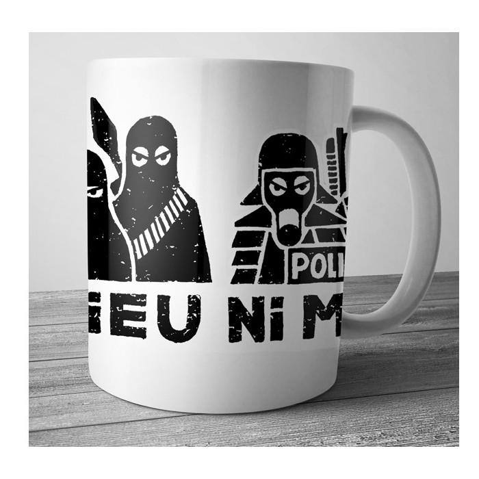 Mug Dolmen in Black ni dieu ni maître blanc
