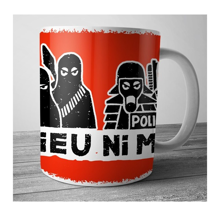 Mug Dolmen in Black ni dieu ni maître rouge
