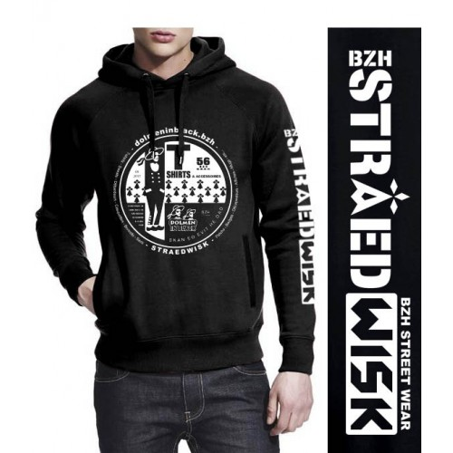 Sweat-shirt non zippé à capuche Dolmen in Black v2