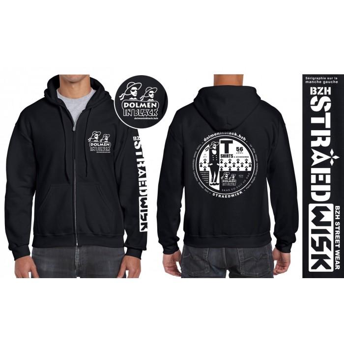 Sweat-shirt zippé à capuche logo Dolmen in Black
