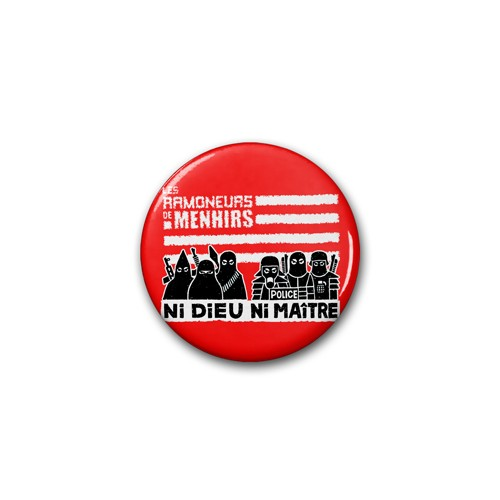 "Badge RDM ""ni dieu ni maitre"" rouge / Ø 38 mm"