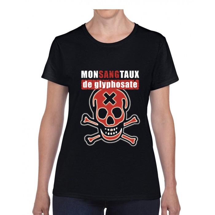 """Tee-shirt femme DIB """"Monsangtaux de glyphosate"""" noir"""