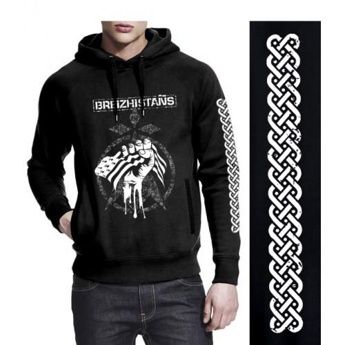 """Sweat-shirt non zippé à capuche DIB  """"Breizhistans"""" noir"""