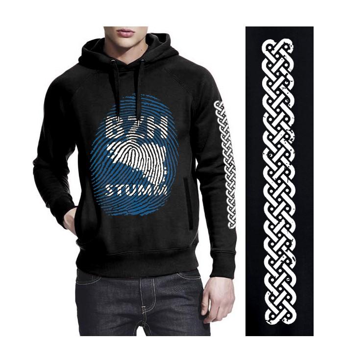 """Sweat non zippé à capuche """"BZH Stumm"""" noir"""